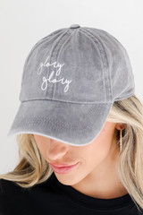Grey - Close Up of the Glory Glory Embroidered Hat