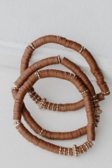 Brown - Flat Lay of a Beaded Bracelet Set on a white background