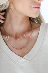 Gold - Smiley Face Layered Necklace