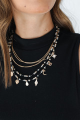 Black - Beaded Layered Necklace