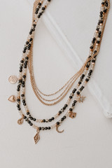 Black - Beaded Layered Necklace from Dress Up
