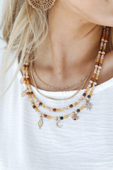 Peach - Model wearing a Beaded Layered Necklace