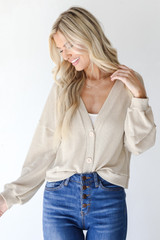 Waffle Knit Cardigan Front View