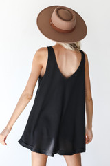 Waffle Knit Romper in Black Back View