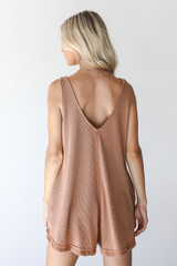 Waffle Knit Romper in Camel Back View