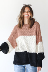 Camel - Popcorn Knit Striped Sweater from Dress Up