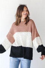 Popcorn Knit Striped Sweater Front View