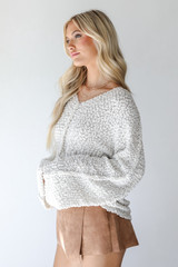 Popcorn Knit Sweater in Ivory Side View