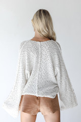 Popcorn Knit Sweater in Ivory Back View
