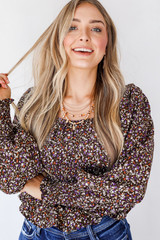 Brown - Floral Blouse from Dress Up