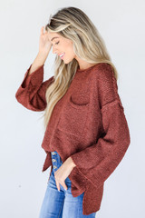 Sweater in Burgundy Side View