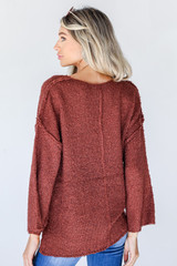 Sweater in Burgundy Back View