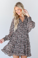 Brown - Floral Dress from Dress Up