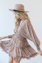 Taupe - Model wearing a Floral Dress