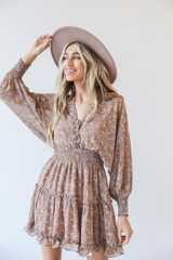 Taupe - Dress Up model wearing a Floral Dress