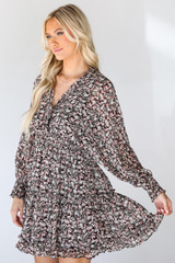 Floral Dress in Brown Side View