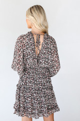 Floral Dress in Brown Back View