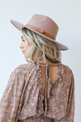 Floral Dress in Taupe Back View