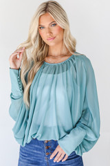 Teal - Model wearing a Blouse