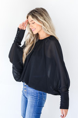 Blouse in Black Side View