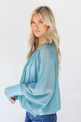 Blouse in Teal Side View