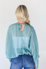 Blouse in Teal Back View