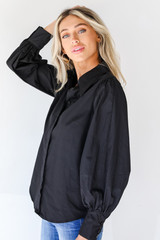 Button-Up Blouse in Black Side View