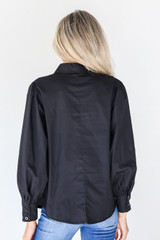 Button-Up Blouse in Black Back View