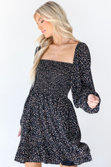 Smocked Leopard Dress in Black Front View