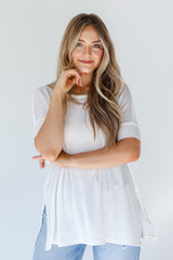 White - Dress Up model wearing a Ribbed Top