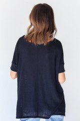 Ribbed Top in Black Back View
