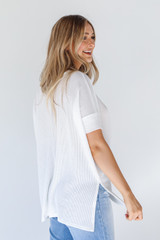 Ribbed Top in White Side View