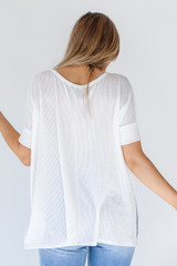 Ribbed Top in White Back View