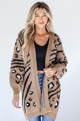 Taupe - Model wearing a Sweater Cardigan