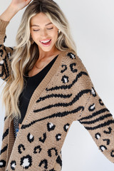 Taupe - Dress Up model wearing a Sweater Cardigan