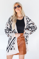 Leopard Sweater Cardigan in Ivory Front View