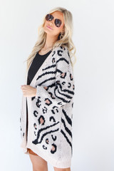 Leopard Sweater Cardigan in Ivory Side View