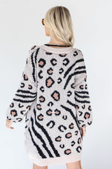 Leopard Sweater Cardigan in Ivory Back View