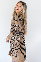 Leopard Sweater Cardigan in Taupe Side View