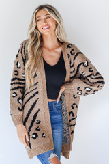 Leopard Sweater Cardigan in Taupe Front View
