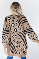 Leopard Sweater Cardigan in Taupe Back View