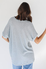 Knit Top in Blue Back View