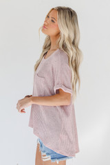 Knit Top in Blush Side View