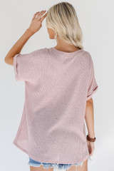 Knit Top in Blush Back View