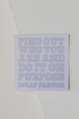 Purple - Flat Lay of a Dolly Quote Sticker from Dress Up