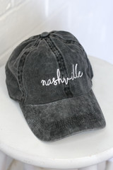 Flat Lay of the Nashville Script Embroidered Hat