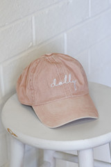 Blush - Flat Lay of the Dolly Script Embroidered Hat