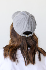 Dolly Script Embroidered Hat in Grey Back View