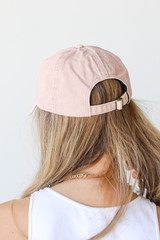 Dolly Script Embroidered Hat in Blush Back View