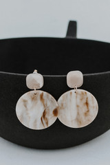 Acrylic Statement Earrings in Taupe
